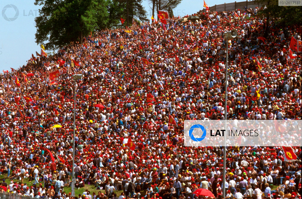 Imola, Italy.3-5 May 1996.The tifosi packed the circuit to view their beloved red cars.Ref-96 SM 18.World Copyright - LAT Photographic