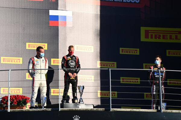 Nikita Mazepin (RUS, HITECH GRAND PRIX), 1st position, Luca Ghiotto (ITA, HITECH GRAND PRIX), and Louis Deletraz (CHE, CHAROUZ RACING SYSTEM), celebrate on the podium