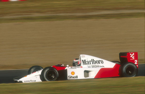 1991 Japanese Grand Prix.Suzuka, Japan.18-20 October 1991.Gerhard Berger (McLaren MP4/6 Honda) 1st position. He was handed victory in the final corner of the race by teammate Senna.Ref-91 JAP 06.World Copyright - LAT Photographic