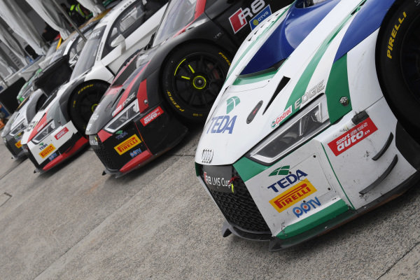 Audi R8 cars lined up in the Paddock at Audi R8 LMS Cup, Rd7 and Rd8, Shanghai, China, 8-10 September 2017.