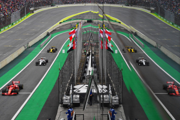Sebastian Vettel, Ferrari SF71H, Charles Leclerc, Alfa Romeo Sauber C37 and Nico Hulkenberg, Renault Sport F1 Team R.S. 18