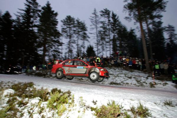2005 FIA World Rally Champs. Round two Swedish Rally.10th-13th February 2005.Harri Rovanpera, Mitsubishi, action.World Copyright: McKlein/LAT