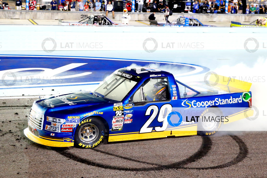 NASCAR Camping World Truck Series Ford EcoBoost 200 Homestead-Miami Speedway, Homestead, FL USA Friday 17 November 2017 Chase Briscoe, Cooper Standard Ford F150 celebrates his win with a burnout  World Copyright: Russell LaBounty LAT Images