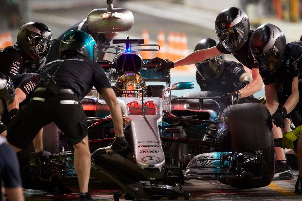 Yas Marina Circuit, Abu Dhabi, United Arab Emirates. Friday 24 November 2017. Lewis Hamilton, Mercedes F1 W08 EQ Power+, makes a pit st during practice. World Copyright: Steve Etherington/LAT Images  ref: Digital Image SNE10741