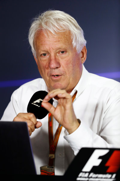 Autodromo Hermanos Rodriguez, Mexico City, Mexico. Thursday 26 October 2017. Charlie Whiting, Race Director, FIA, holds a press conference to explain decisions from officials at the recent US Grand Prix. World Copyright: Sam Bloxham/LAT Images  ref: Digital Image _J6I8469