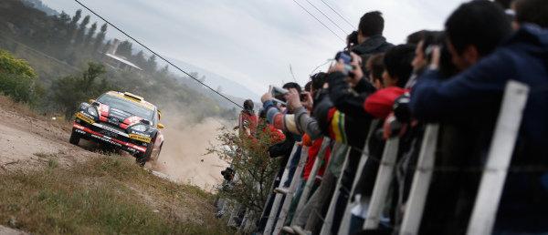 Fans watch Martin Prokop (CZE) / Jan Tomanek (CZE) Ford Fiesta RS WRC. FIA World Rally Championship, Rd5, Rally Argentina, Preparations and Shakedown, Cordoba-Villa Carlos Paz, Argentina, 8 May 2014.