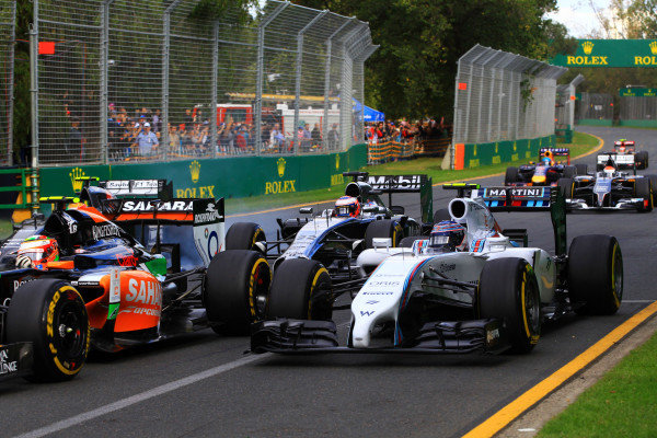 (L to R): Esteban Gutierrez (MEX) Sauber and Valtteri Bottas (FIN) Williams FW36 at the start of the race. Formula One World Championship, Rd1, Australian Grand Prix, Race, Albert Park, Melbourne, Australia, Sunday 16 March 2014. BEST IMAGE