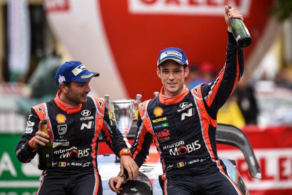 2017 FIA World Rally Championship, Round 08, Rally Poland / June 29 - July 2 2017, Thierry Neuville and Nicolas Gilsoul, Hyundai, Podium, Worldwide Copyright: McKlein/LAT