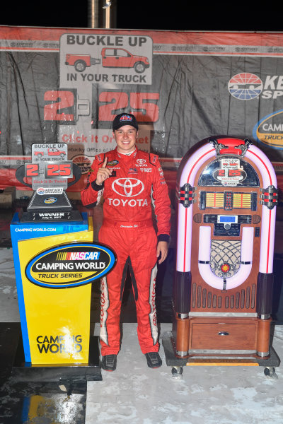 NASCAR Camping World Truck Series Buckle Up In Your Truck 225 Kentucky Speedway, Sparta, KY USA Friday 7 July 2017 Christopher Bell, Toyota Toyota Tundra celebrates in victory lane  World Copyright: Logan Whitton LAT Images