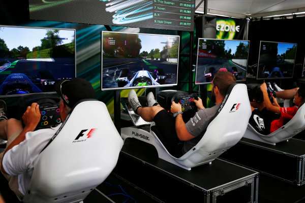 Circuit Gilles Villeneuve, Montreal, Canada. Sunday 11 June 2017. F1 challenge in the Gamezone. World Copyright: Andy Hone/LAT Images ref: Digital Image _ONZ4820