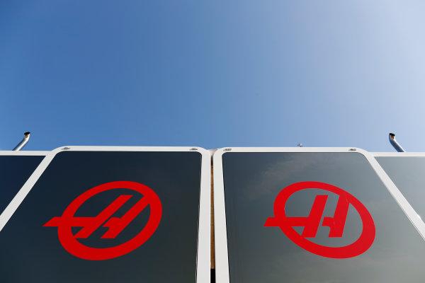 Circuit de Barcelona Catalunya, Barcelona, Spain. Friday 10 March 2017. Haas logos on a motorhome. World Copyright: Glenn Dunbar/LAT Images ref: Digital Image _X4I6917