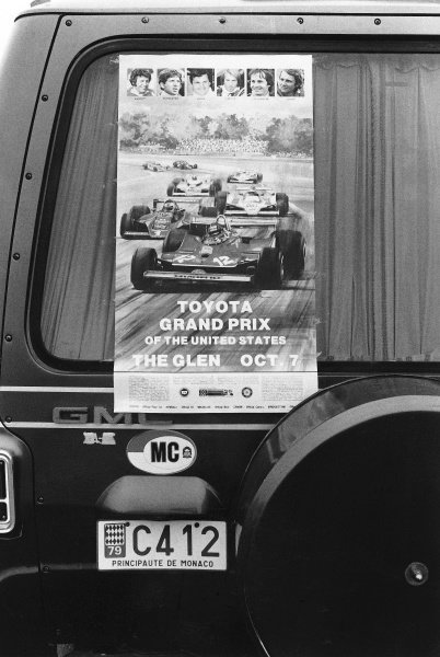 1979 United States Grand Prix East. Watkins Glen, New York, USA. 5-7 October 1979. Gilles Villeneuve leads even on this poster for the event. World Copyright - LAT Photographic. ref: L79/1862/20