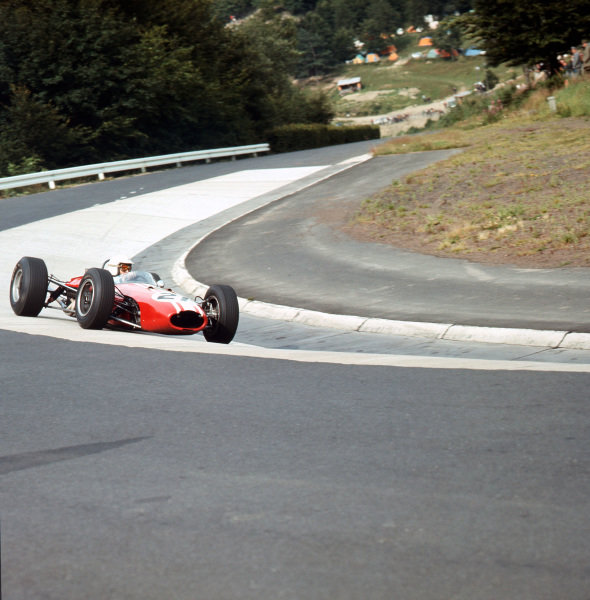 Nurburgring, Germany.30/7-1/8 1965.Frank Gardner (Brabham BT11 Climax) in the Karussell.Ref-3/1801.World Copyright - LAT Photographic