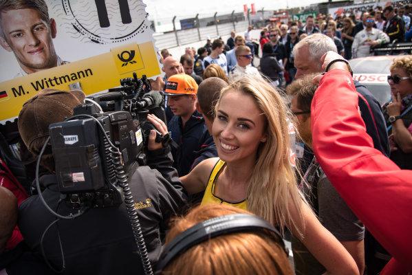 2017 DTM Round 6  Circuit Zandvoort, Zandvoort, Netherlands Sunday 20 August 2017. Grid girl, Max Verstappen, F1, Red Bull Racing World Copyright: Mario Bartkowiak/LAT Images ref: Digital Image 2017-08-20_DTM_Zandvoort_R2_0141
