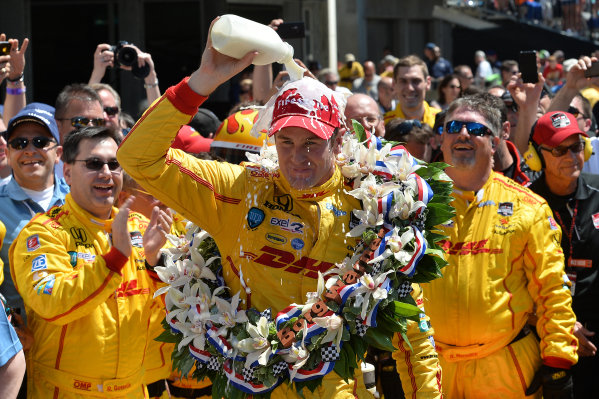 Indy 500 winner Ryan Hunter-Reay (USA) Andretti Autosport, celebrates in Victory Lane with the traditional bottle of milk. Verizon IndyCar Series, Rd4, Indianapolis 500, Indianapolis, USA, Sunday 25 May 2014.