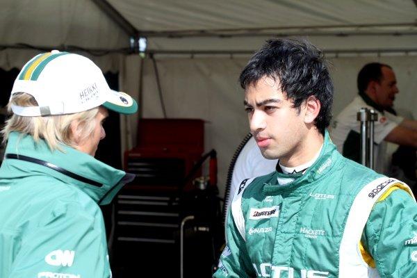 Nabil Jeffri (MAL) talks with Heikki Kovalainen (FIN) Lotus. Lotus F1 Aero Testing, Duxford Aerodrome, Duxford, England, 1 September 2010.
