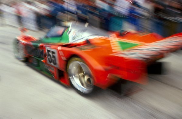 Johnny Herbert (GBR) / Volker Weidler (GER) / Bertrand Gachot (BEL) Mazda 787B won the race. Le Mans 24 Hours, Le Mans, France, 22-23 June 1991.