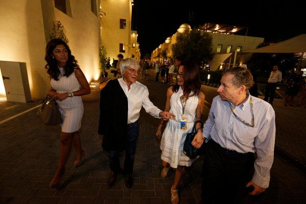 Yas Marina Circuit, Abu Dhabi, United Arab Emirates Saturday 3rd November 2012. Bernie Ecclestone, CEO, FOM, Michele Yeoh and Jean Todt, President, FIA.  World Copyright:Charles Coates/  ref: Digital Image _N7T4981