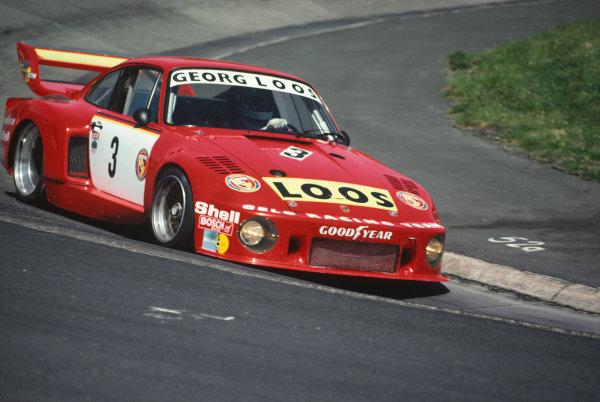 Nurburgring, Germany. 29th May 1977. Rd 4.Derek Bell/Toine Hezemans/Rolf Stommelen/Tim Schenken (Porsche 935), 1st position, action. World Copyright: LAT Photographic.Ref:  77NUR01.