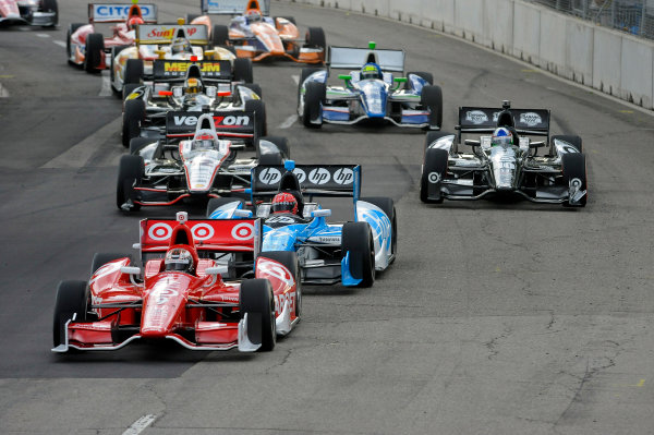 1-2 June, 2012, Detroit, Michigan, USAScott Dixon (#9) leads the field as the race is restarted with teammate Dario Franchitti (#10) tries to move up the order ahead of Simon Pagenaud (#77) and Will Power (#12).(c)2012, F. Peirce WilliamsLAT Photo USA