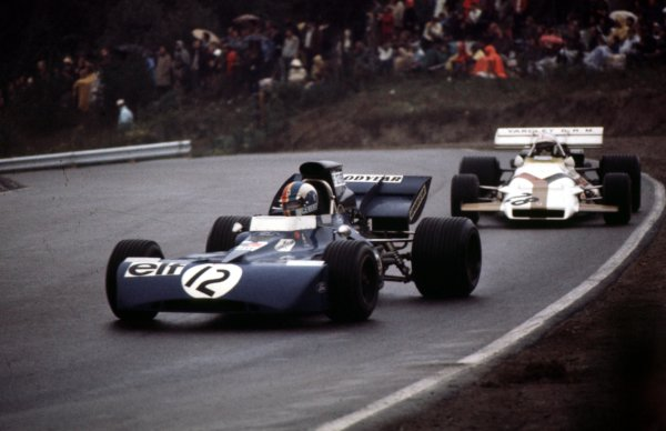 1971 Canadian Grand Prix.Mosport Park, Ontario, Canada.17-19 November 1971.Francois Cevert (Tyrrell 002 Ford) leads George Eaton (BRM P160). They finished in 6th and 15th positions respectively.Ref-71 CAN 15World Copyright - LAT Photographic