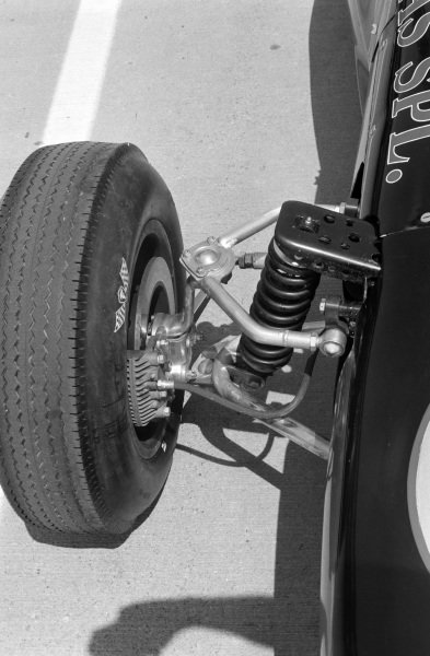The front wheel detail on a Smokey Yunick, Python Roadster Offy,