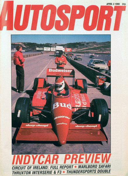 Cover of Autosport magazine, 3rd April 1986