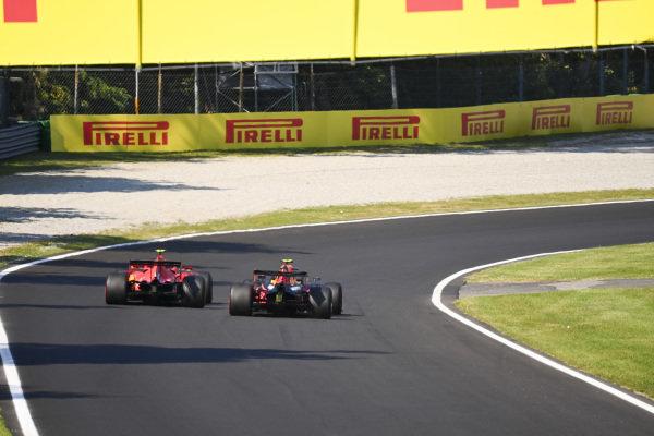 Charles Leclerc, Ferrari SF1000, battles with Alexander Albon, Red Bull Racing RB16