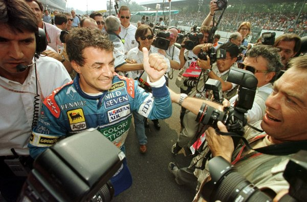 1997 Italian Grand Prix.Monza, Italy.5-7 September 1997.Jean Alesi (Benetton Renault) after qualifying on pole position.World Copyright - Coates/LAT Photographic