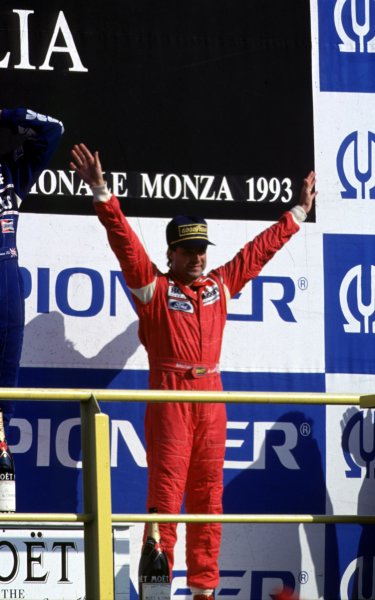 1993 Italian Grand Prix.  Monza, Italy. 10-12 September 1993.  Michael Andretti (McLaren Ford) 3rd position on the podium.  Ref: 93ITA18. World Copyright - LAT Photographic