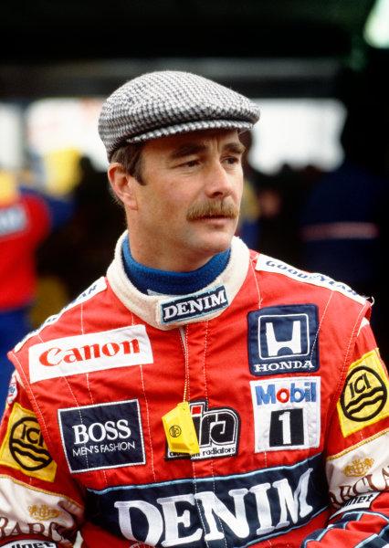 Spa-Francorchamps, Belgium.15th - 17th May 1987.Nigel Mansell (Williams FW11B Honda) retired, portrait.World Copyright: Murenbeeld/ LAT Photographic.