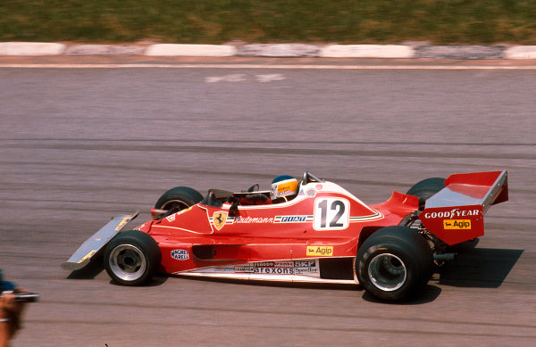1977 Brazilian Grand Prix.Interlagos, Sao Paulo, Brazil.21-23 January 1977.Carlos Reutemann (Ferrari 312T2) 1st position.Ref-77 BRA 03.World Copyright - LAT Photographic