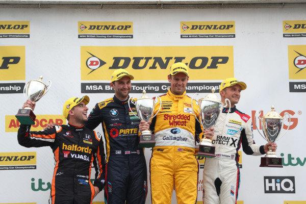 Podium, Dan Cammish (GBR) Team Dynamics Honda Civic, Andrew Jordan (GBR) WSR BMW, Tom Chilton (GBR) Motorbase Performance Ford Focus  and Colin Turkington (GBR) WSR BMW