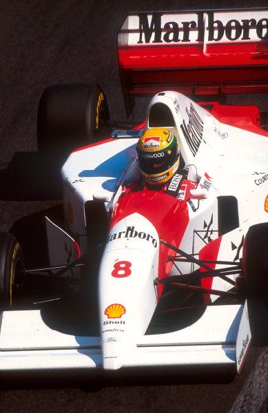1993 Monaco Grand Prix.Monte Carlo, Monaco.20-23 May 1993.Ayrton Senna (McLaren MP4/8 Ford) 1st position.Ref-93 MON 02.World Copyright - LAT Photographic