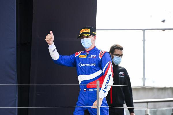 Race Winner Alexander Smolvar (RUS, ART GRAND PRIX) celebrates on the podium