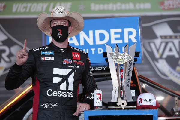 #51: Kyle Busch, Kyle Busch Motorsports, Toyota Tundra Cessna, celebrates after winning the Truck race in Texas.