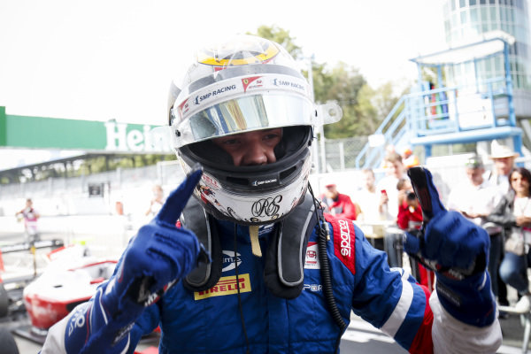 AUTODROMO NAZIONALE MONZA, ITALY - SEPTEMBER 07: Race winner Robert Shwartzman (RUS) PREMA Racing celebrates in parc fame during the Monza at Autodromo Nazionale Monza on September 07, 2019 in Autodromo Nazionale Monza, Italy. (Photo by Joe Portlock / LAT Images / FIA F3 Championship)
