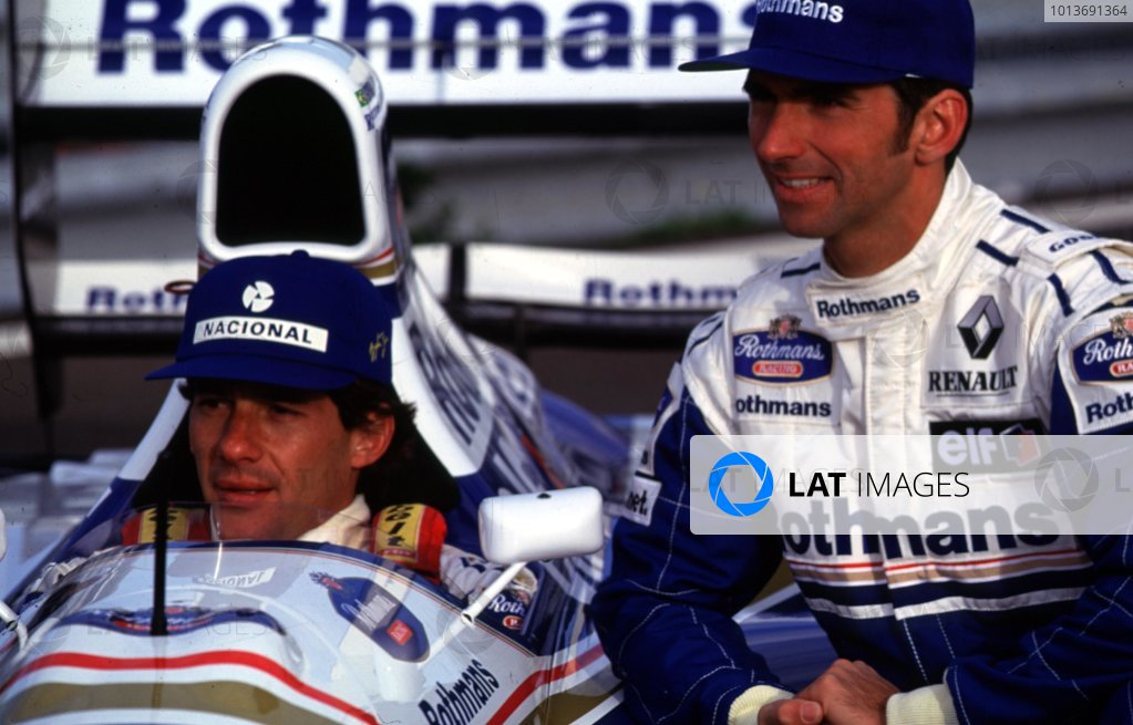 1994 Williams FW16-Renault Launch. Estoril, Portugal. Damon Hill and Ayrton Senna (Rothmans Williams FW16-Renault), pose for the World`s press portrait.  World Copyright: LAT Photographic. Ref: Digital Image Only.