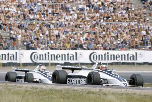1981 German Grand Prix.Hockenheim, Germany. 31 July-2 August 1981.Hector Rebaque leads Nelson Piquet (both Brabham BT49C-Ford Cosworth). They finished in 4th and 1st positions respectively.World Copyright: LAT PhotographicRef: 35mm transparency 81GER04