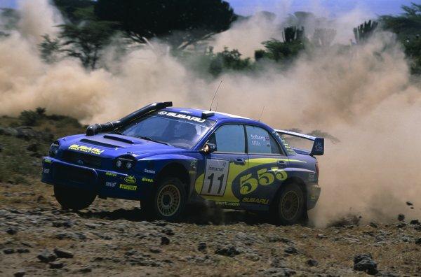 2002 World Rally Championship.Safari Rally, Kenya. 12-14 July 2002.Petter Solberg/Philip Mills (Subaru Impreza WRC), retired.World Copyright: LAT PhotographicRef: 35mm transparency 02RALLY15