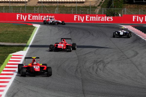2015 GP3 Series Round 1. Circuit de Catalunya, Barcelona, Spain. Sunday 10 May 2015. Emil Bernstorff (GBR, Arden International) leads Kevin Ceccon (ITA, Arden International). Photo: Zak Mauger/GP3 Series Media Service. ref: Digital Image _MG_7296
