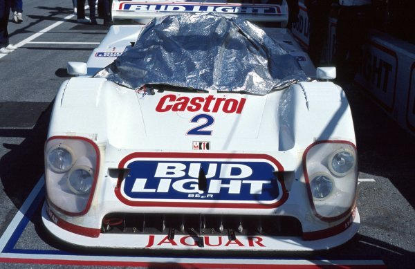 The TWR Jaguar XJR-12D of Davy Jones (USA) / Scott Pruett (USA) / David Brabham (AUS) / Scott Goodyear (CDN) in the pits.IMSA GTP Championship, Rd1, Daytona 24 Hours, Daytona Beach, Florida, USA. 2 January 1992.BEST IMAGE