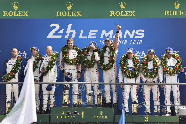 #92 Porsche GT Team Porsche 911 RSR: Michael Christensen, Kevin Estre, Laurens Vanthoor, #93 Porsche GT Team Porsche 911 RSR: Patrick Pilet, Nick Tandy, Earl Bamber, #68 Ford Chip Ganassi Racing Ford GT: Joey Hand, Dirk Müller, Sébastien Bourdais, podium