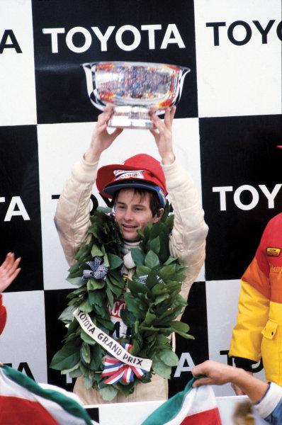 Watkins Glen, New York State, USA. 5 - 7 October 1979.Gilles Villeneuve (Ferrari 312T4) 1st position, podium, portrait. World Copyright: LAT Photographic.Ref: 79USA18