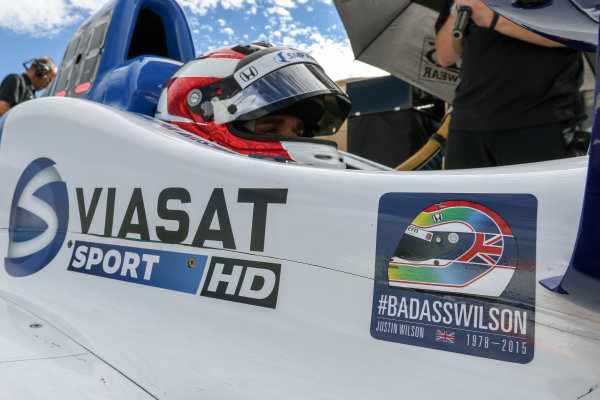 28-30 August, 2015, Sonoma, California USA Justin Wilson tribute decal ?2015, Sam Cobb LAT Photo USA