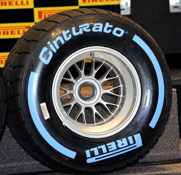 A Pirelli F1 wet tyre.The Pirelli Cinturato brand was used in Formula 1 in the 1950s and has been re-introduced for the wet and intermediate tyres. The wet tyres are blue-coded.