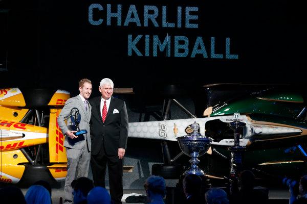 6 December, 2012, Indianapolis, Indiana, USA Charlie Kimball with Tony Renna Rising Star award and Al Speyer.(c) 2012, Michael L. Levitt LAT Photo USA