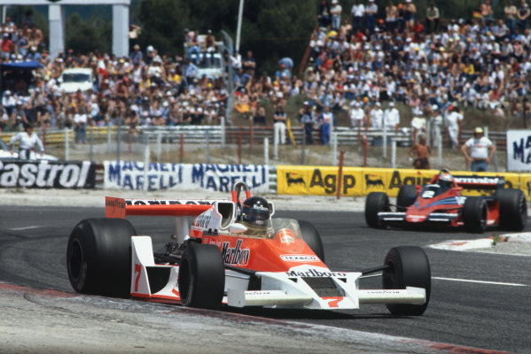 Paul Ricard, Le Castellet, France. 30/6-2/7 1978.  James Hunt (McLaren M26 Ford) 3rd position, leads John Watson (Brabham BT46 Alfa Romeo) 4th position.  Ref: 78FRA22. World Copyright: LAT Photographic
