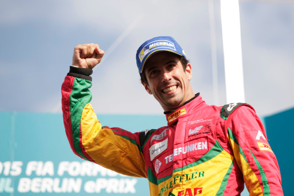 2014/2015 FIA Formula E Championship. Berlin ePrix, Berlin Tempelhof Airport, Germany. Saturday 23 May 2015 Podium. Lucas di Grassi (BRA)/Audi Abt Sport - Spark-Renault SRT_01E. Photo: Zak Mauger/LAT/Formula E ref: Digital Image _MG_7817