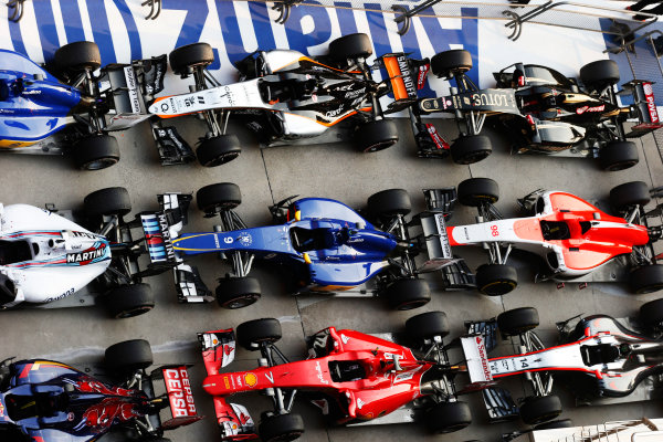 Shanghai International Circuit, Shanghai, China. Sunday 12 April 2015. The cars in Parc Ferme after the race. World Copyright: Steven Tee/LAT Photographic. ref: Digital Image _L4R8800